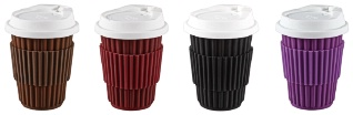 Takeaway ceramic coffee cup ribbed style