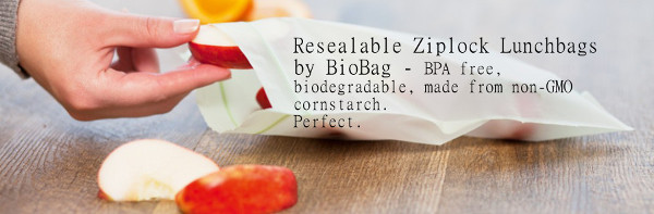 Biobag biodegradable cornstarch ziplock lunch bags