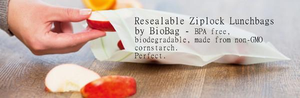 Biobag biodegradable cornstarch ziplock lunch bags