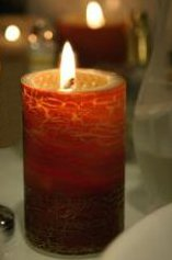 A romantic beeswax candle, Sunset by QueenB.